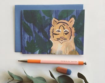 Tiger Card -  illustrated, quirky, greeting card, illustration, blank inside,