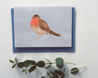 Robin Red Breast Card - Illustrated, Christmas, winter, holiday card, bird lovers