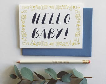 Hello Baby - New baby card, yellow, gender neutral, handlettered