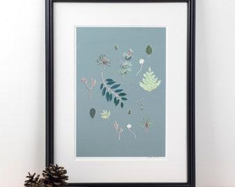 Forest Floor - watercolour print, botanical wall art, bold art print, A4