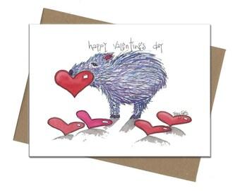 Southwest Javelina Hearts   Valentine Card