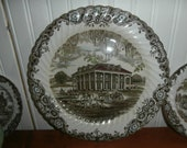 Vintage Heritage Hall transferware large 12 1 4 quot platter or chop plate Southern Plantation Staffordshire England Johnson Brothers ironstone