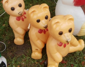 vintage christmas blow mold sitting teddy bear light up yard decoration works - Christmas Blow Mold