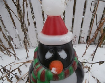 vintage christmas blow mold penguin with scarf and stocking cap chilly willy holiday yard decoration light up with cord and lamp works