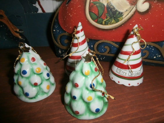 Vintage Holiday Merry Christmas Bell Decorations Set Of Four Etsy