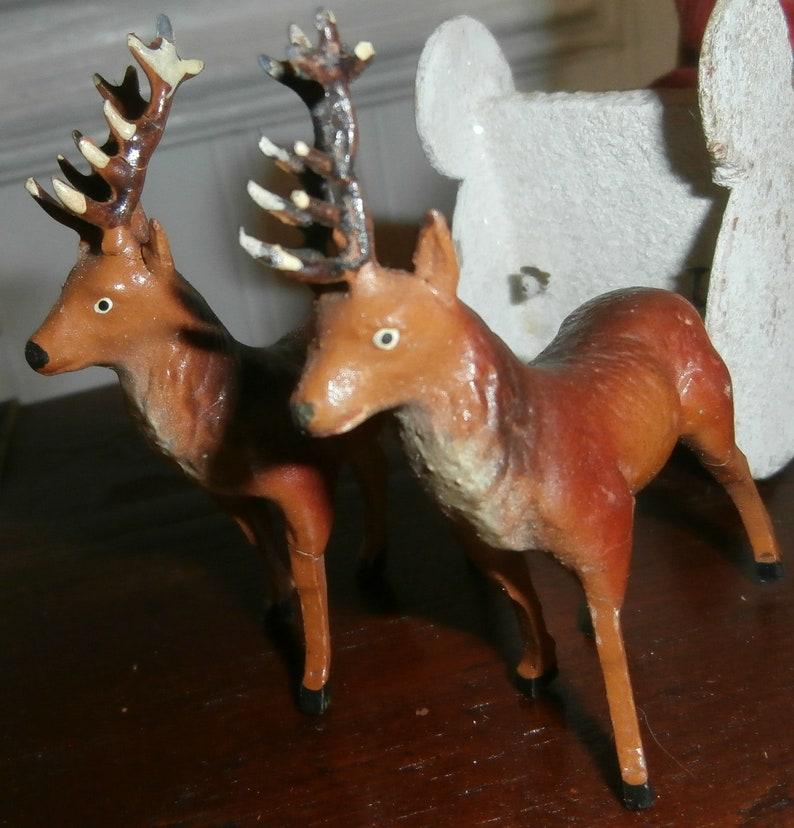 Vintage Christmas Germany decoration antique German Santa sleigh 2 reindeer composition putz mica felt old