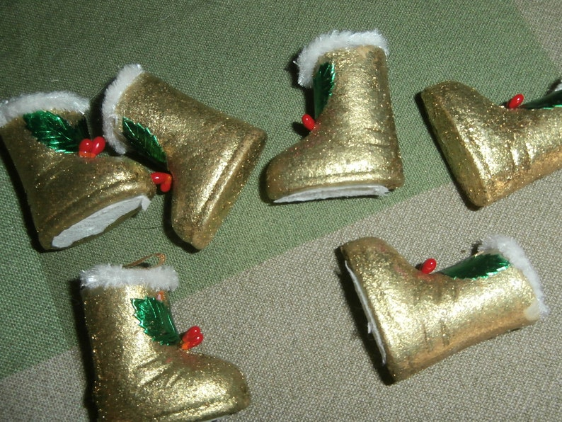 Vintage Christmas ornaments gold glittered paper mache miniature boot candy containers lot of 5 decorations with holly berry trim