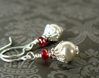 Tiny Grey Pearl Earrings, Small Earrings, Silver Grey and Red Dangles, Delicate Glass Pearl Earrings, Vintage Style Jewelry