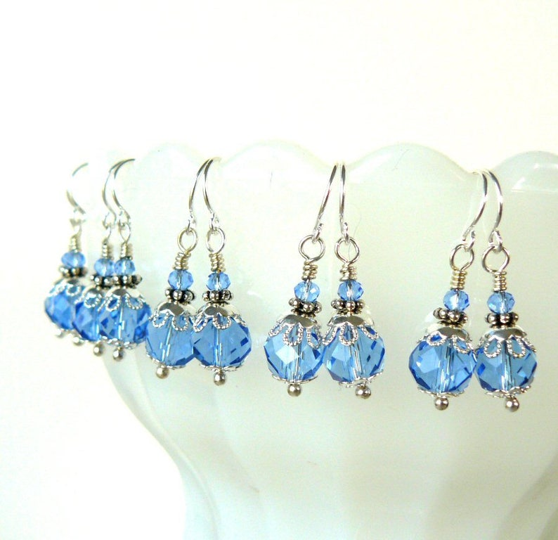 Light Blue Earrings Vintage Style Pale Sapphire Bridesmaid Earrings Ice Blue and Silver Crystal Dangles Romantic Wedding Party Jewelry