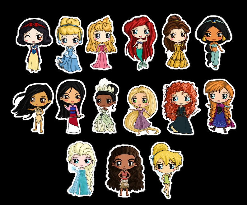 a6f4ed52a78 Disney Princess Stickers Disney Princess Chibi Stickers