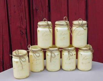 Distressed Mason Jars Hand Painted In Suburban Honey, Wedding Decor,Rustic Decor, Vase ,Center Pieces,Country Decor