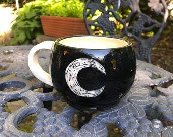 Moon mug, handmade mug, ceramic mug, coffee mug, gold stars