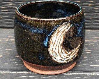 Moon cup, crescent moon, handmade cup, ceramic cup
