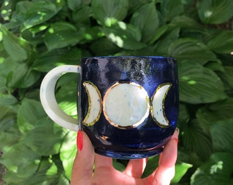 Moon mug, blue moon, handmade mug, ceramic mug, coffee mug, triple moon godess