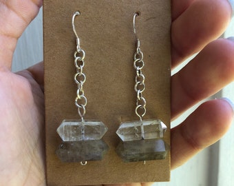 Silver Crystal quartz and smokey quartz earrings
