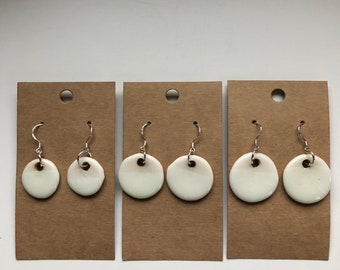 Porcelain Drop Earrings, circle earrings, porcelain earrings