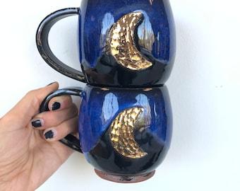Gold Midnight crescent mug