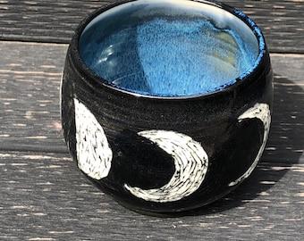 Moon phase bowl, crescent moon, handmade bowl, ceramic bowl
