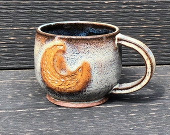 Moon mug, blue moon, handmade mug, ceramic mug, coffee mug