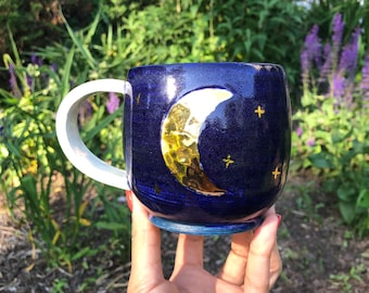 Moon mug, blue moon, handmade mug, ceramic mug, coffee mug, gold moon
