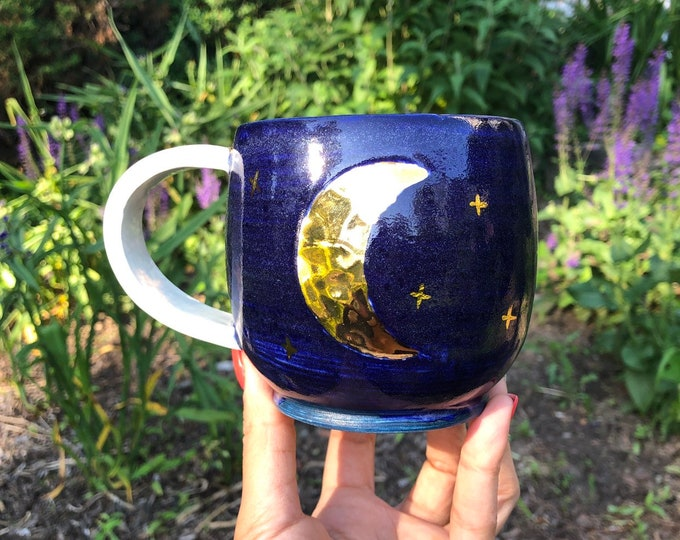 Featured listing image: Moon mug, blue moon, handmade mug, ceramic mug, coffee mug, gold moon