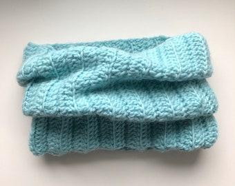 crochet natural fiber cowl, neck warmer, scarf, infinity scarf