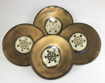 Gold Coaster set, snowflake coasters, Ceramic coasters