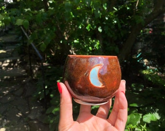Moon cup, handmade candle, ceramic cup, wooden wick candle