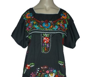 d149bbf0029 Black Puebla Mexican Dress Peasant Hand Embroidered Vintage Style Tunic