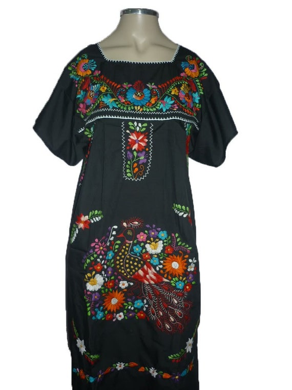 57ebf8e38a453 Black Puebla Mexican Dress Peasant Hand Embroidered Vintage