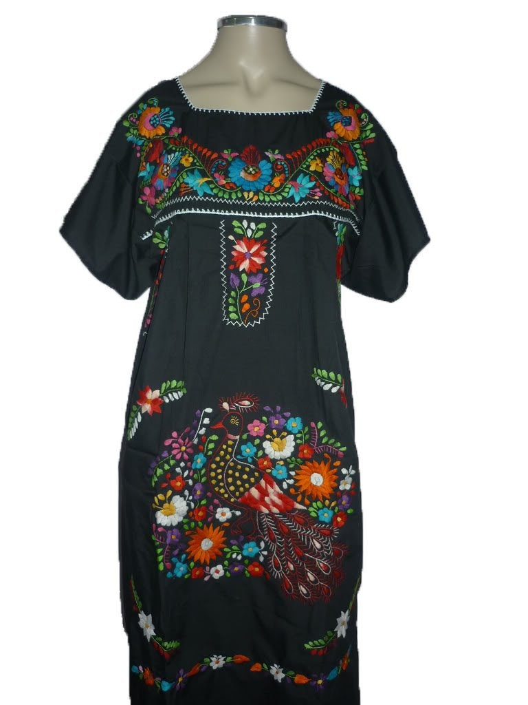 26c501b9443663 Black Puebla Mexican Dress Peasant Hand Embroidered Vintage