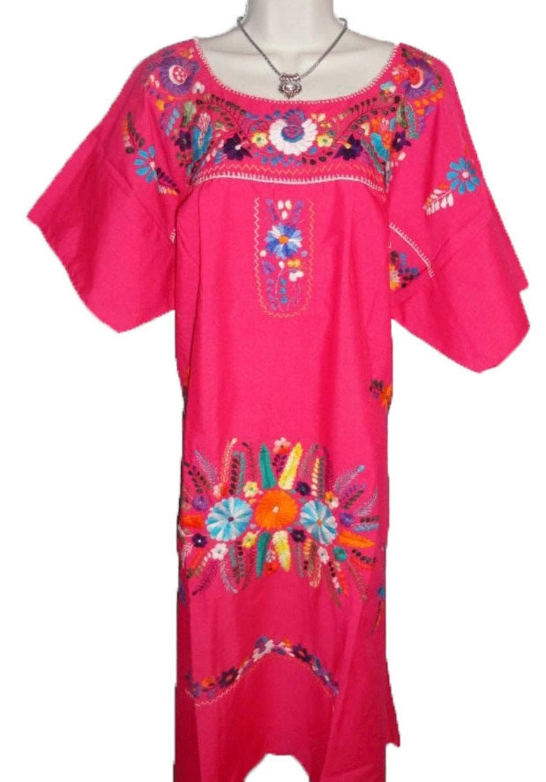 33f10f96e4b Pink Puebla Mexican Dress Peasant Hand Embroidered Vintage