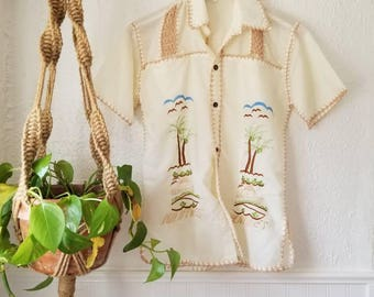 Vintage Embroidered Cotton Top / Boho Top