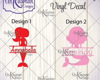 Mermaid with Name 2 Designs to Choose from Iron On Vinyl Decal