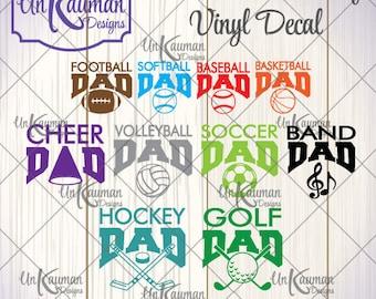 DIY Iron On Vinyl Sports Dad Decals, Baseball, Softball, Football, Band, Volleyball, Soccer, Basketball, Cheer, Hockey, Golf