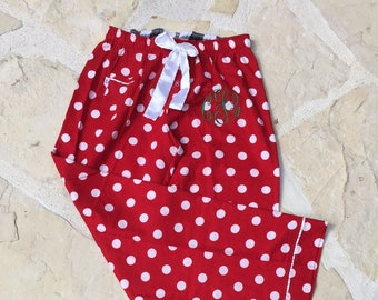f23cf13768 Monogrammed Family PJs   Red and White Polka Dot Flannel Pajama Pants