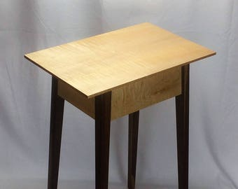 Curly Maple and Black Walnut Lamp Table