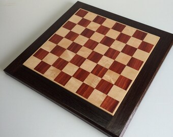 Padauk and maple chess board with a wenge boarder