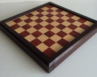 Padauk and maple chess board encased with wenge
