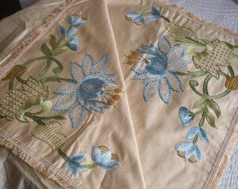 b02ad6fd2 Arts & Crafts era crewel embroidered pelmet   Etsy