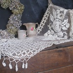 Antique French filet lace & crochet runner