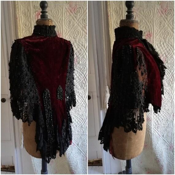 Original Victorian red velvet mantle cape