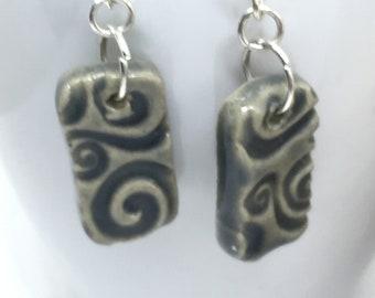 Grey Ceramic Glazed swirly Earrings