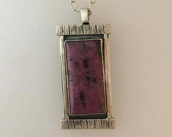 Ruby Zoisite Pendant in Sterling Silver