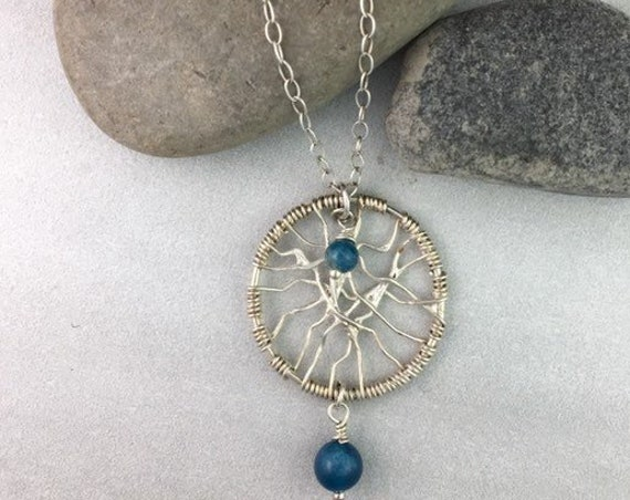 Dream Catcher Necklace with Apatite Beads in Silver