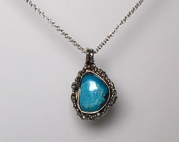 Castle Dome Turquoise Sterling Silver Artisan Pendant