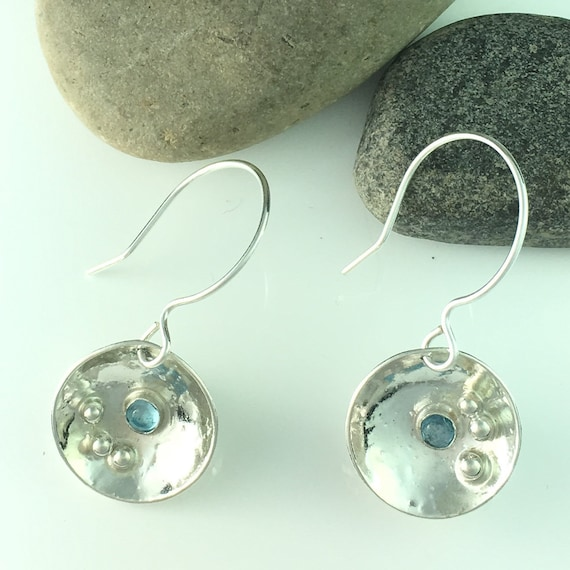 Blue Topaz Earrings in Sterling Silver Handcrafted