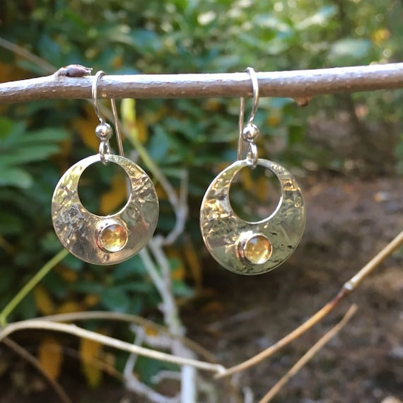Citrine Gemstone Sterling Silver Earrings
