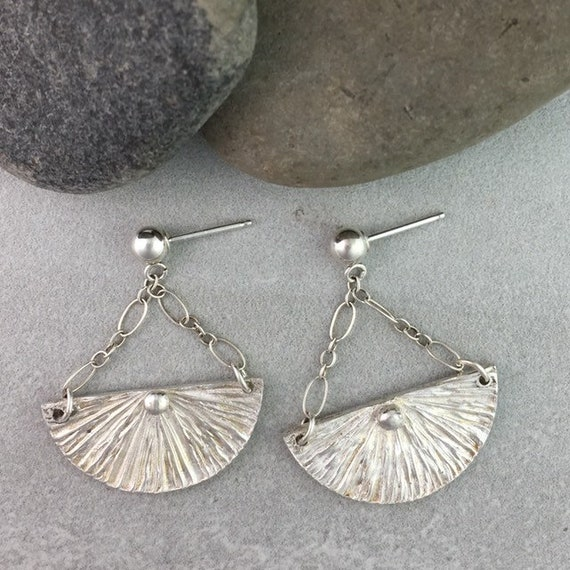 Half Circle Fan Shape Sterling Silver Artisan Earrings