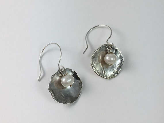 Organic Looking Pearl and Sterling Silver Earrings